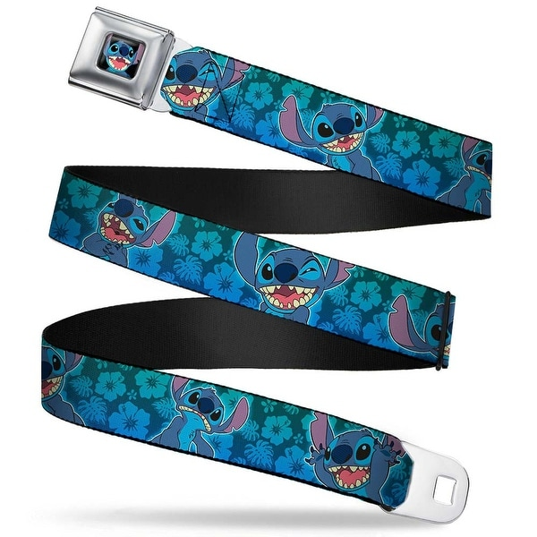 Stitch Smiling Close Up Full Color Black Stitch Expressions Hibiscus Seatbelt Belt