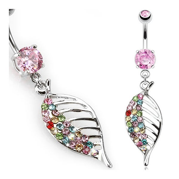 Multi Color Paved Asymmetrical Leaf Navel Belly Button Ring 316L Surgical Steel (Sold Ind.)