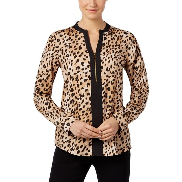 88b0b1c1701d Shop Calvin Klein Womens Blouse Half-Zip Animal Print - Free ...