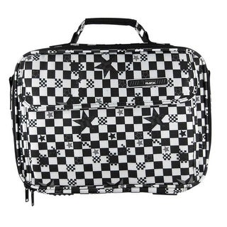 Black and White Checkered Laptop Carry Case with Stars