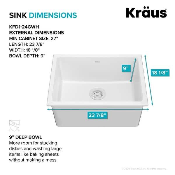 Kraus Turino Dual Drop In Undermount Fireclay Single Bowl Kitchen Sink Overstock 32454905