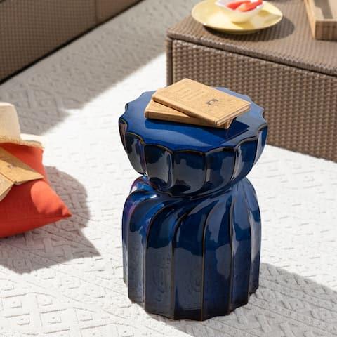 Marthe Indoor/ Outdoor Blue 18-inch Garden Stool