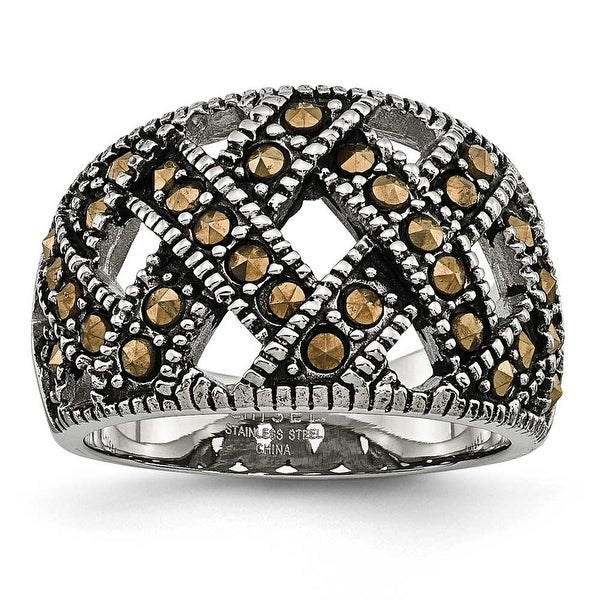 Chisel Stainless Steel Textured Marcasite Ring (13 mm)