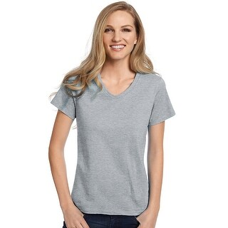 Hanes Relaxed Fit Women's ComfortSoft® V-neck T-Shirt - Size - 3XL - Color - Light Steel