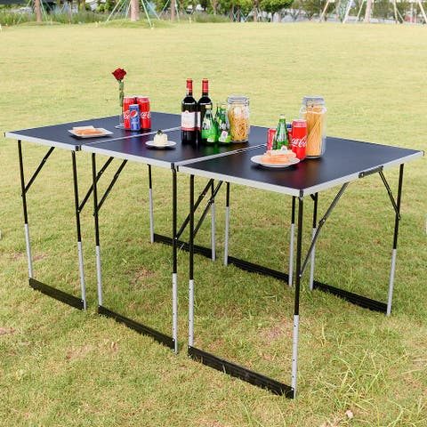 Gymax 3PCS Folding Outdoor Camping Picnic Table Set Height Adjustable