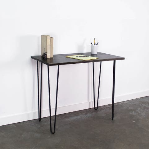 Fullerton Rustic Solid Wood Desk with Hairpin Legs