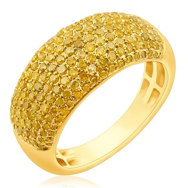 Prism Jewel 1.02 Carat Yellow Color Diamond Wedding Band, 3.60mm Wide