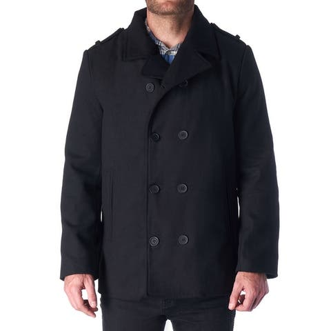 Hammer Anvil Bryce Mens Wool Blend Double Breasted Peacoat - Black