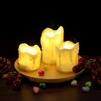 3PCS/set LED Flameless Candles Battery Operated Smokeless Wax Dripped for Decorations Warm White
