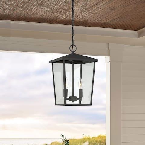 2 Light 9 Inch Modern Farmhouse Rustic Outdoor Pendant Chandelier