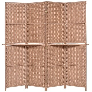 Costway Folding 4 Panel Room Divider Removable Display Shelves Woven Paper Screen Natural