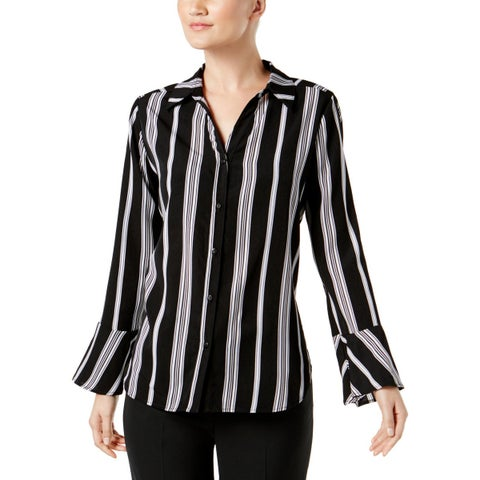 NY Collection Womens Button-Down Top Bell Sleeves Striped