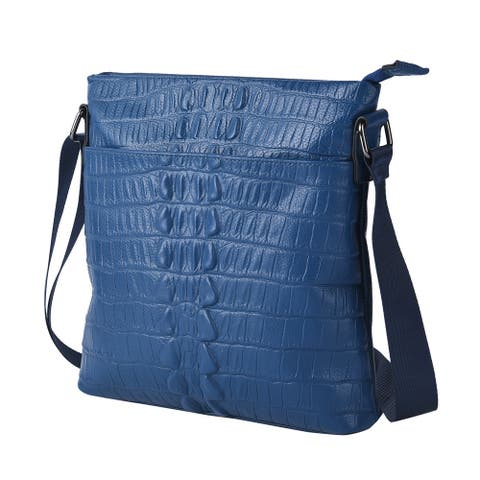 Shop LC Skin Pattern Genuine Leather Middle Size Crossbody Bag - 10x11x2 inches