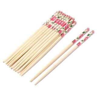 Household Bamboo Peony Pattern Tableware Non-slip Chopstick Beige 10 Pairs