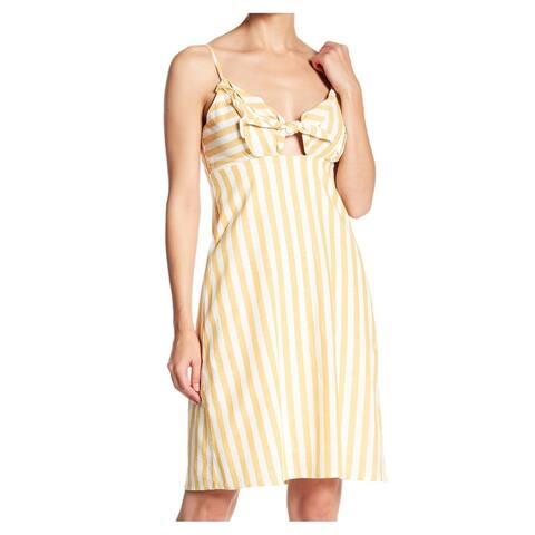 CAD Women's Yellow Size XL Striped Front Tie Cutout Sheath Dress
