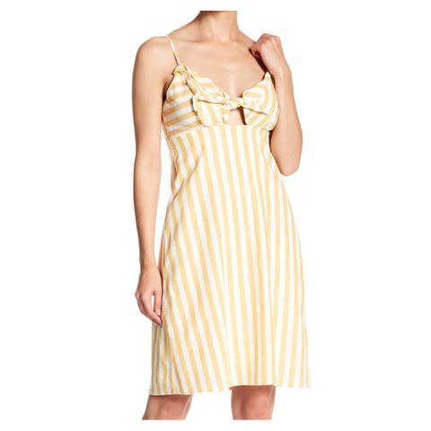 CAD Yellow Womens Size XS Striped Tie-Knot Cutout Sheath Dress