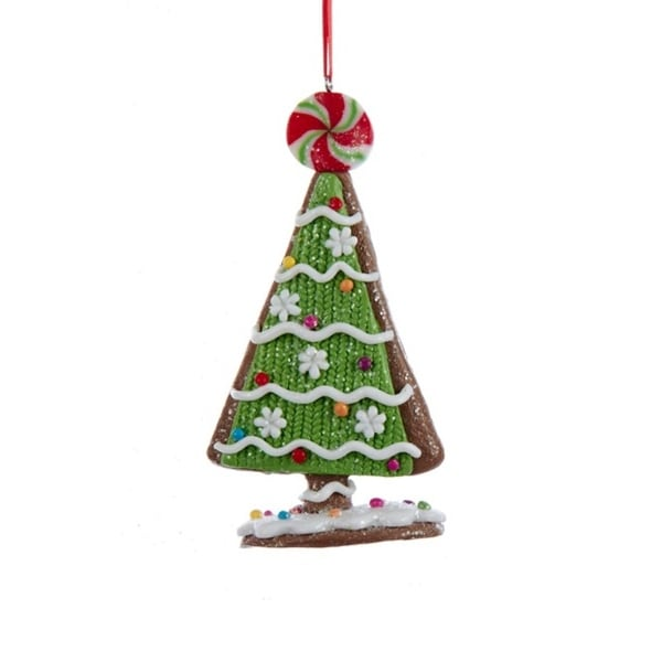 """5"""" Green and White Decorative Tree with Multi-Colored Candy and Peppermint Topper Christmas Ornament"""