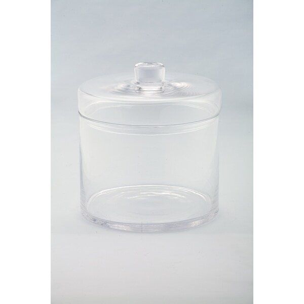 """8.5"""" Clear Solid Cylindrical Hand Blown Glass Jar with Finial Lid - N/A"""