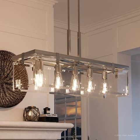 """Luxury Modern Farmhouse Chandelier, 15.75""""H x 36.75""""W, with Industrial Chic Style, Brushed Nickel Finish by Urban Ambiance"""