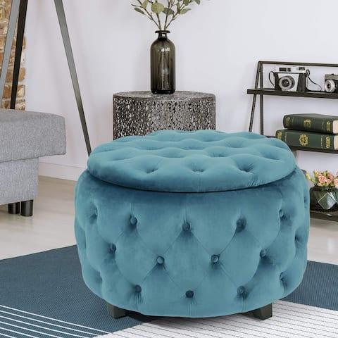 Adeco Tufted Blue Round Storage Ottoman