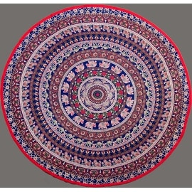 "Handmade 100% Cotton Elephant Mandala Floral 81"" Round Tablecloth Blue Red Green Golden Brown"