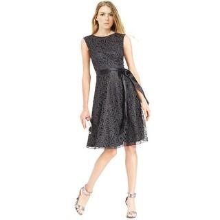 Tahari ASL Glitter Lace Belted Sleeveless Cocktail Dress - 16
