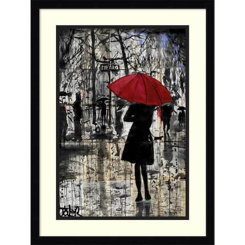 Framed Art Print 'Metro Red Umbrella' by Loui Jover 17 x 23-inch