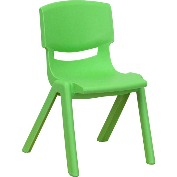 Offex Green Plastic Stackable School Chair with 12'' Seat Height