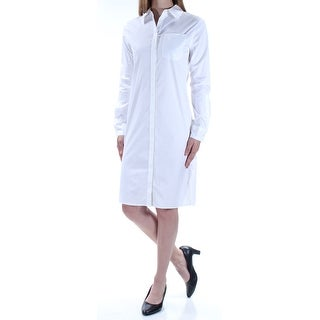 Womens White Cuffed Knee Length Shirt Casual Dress Size: S
