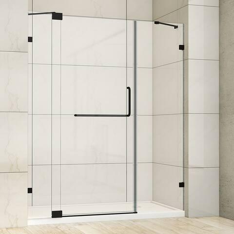 "Milano 66"" W x 72"" H Hinged Frameless Tub Door in Matt Black - 66"" W x 72"" H"