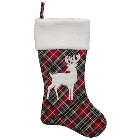 """20"""" Black and Red Tartan Reindeer Christmas Stocking with Cuff"""