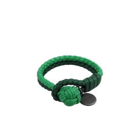Bottega Veneta Women's Green / Light Green Leather Braided Bracelet 113546 3284 - XS