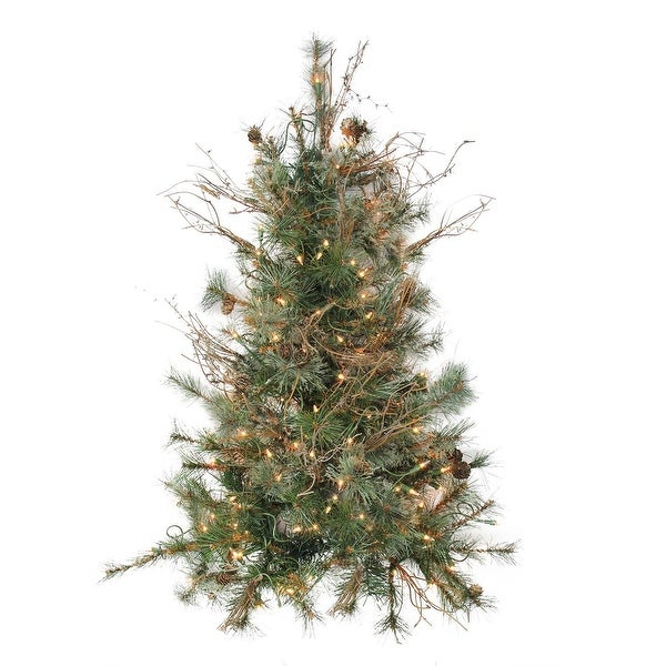 """3' x 28"""" Pre-Lit Country Mixed Pine Artificial Christmas Wall or Door Tree - Clear Lights - green"""