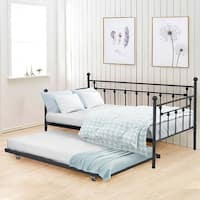 VECELO Metal Daybed or Trundle Platform Bed Frame Twin Size(Trundle out of stock)