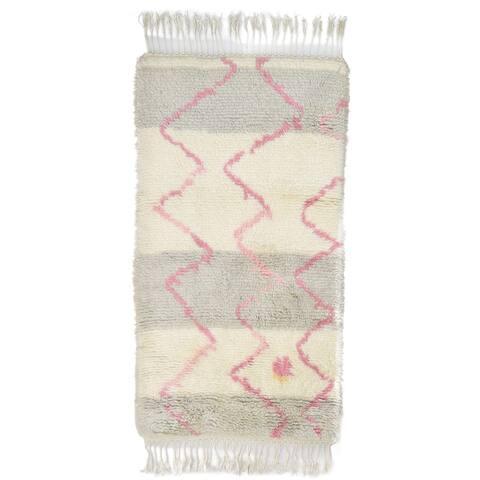 "One of a Kind Hand-Knotted Shag 3' x 5' Geometric Wool Ivory Rug - 2'9""x5'1"""