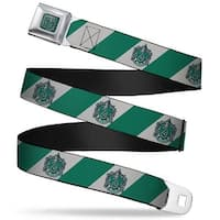 Slytherin Crest Full Color Green Slytherin Crest Diagonal Stripe Gray Green Seatbelt Belt
