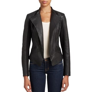 T Tahari Womens Motorcycle Jacket Leather Collarless - xL
