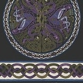 Handmade 100% Cotton Celtic Wheel of Life Tapestry Bedspread Twin 70x104 and Full 88x104 in Black Tan & Black Purple colors - Thumbnail 3