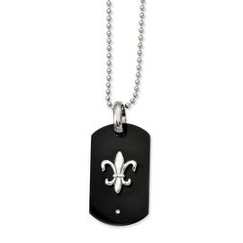 Chisel Titanium with Black IP-plating Fleur de Lis Dogtag Necklace (2 mm) - 24 in