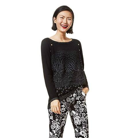Desigual Women's Gaea Flat Knitted Thin Gauge Pullover, Black, XL