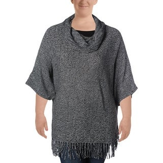 NY Collection Womens Pullover Sweater Fringe Elbow Sleeves