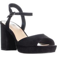 B35 Callista Block Heel Ankle Strap Sandals, Black
