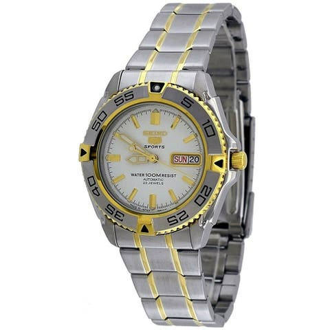 Seiko Men's SNZB24J1 'Seiko 5' Two-Tone Stainless Steel Watch - White