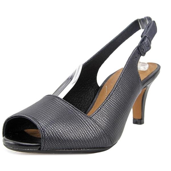 81b3f15e597 Clarks Artisan Heavenly Leah Women Peep-Toe Leather Black Slingback Heel