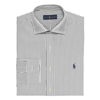 Ralph Lauren Striped Button Down Dress Shirt White and Black 18 36/37