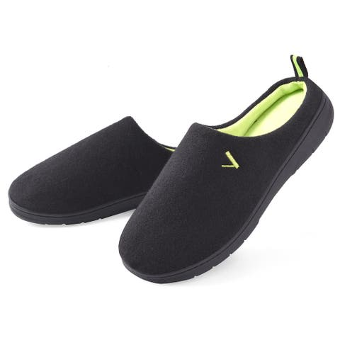 VONMAY Men's Slippers Slip On House Shoes Two Tone Memory Foam Indoor Outdoor