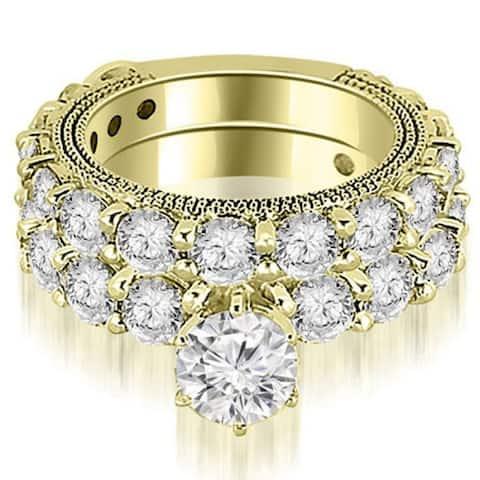4.40 CT Antique Milgrain Round Cut Diamond Engagement Set in 14KT Gold - White H-I