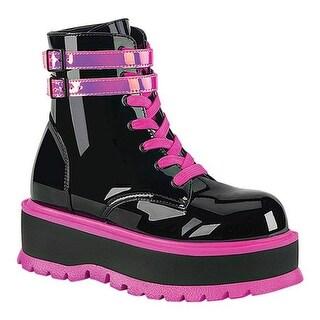 Demonia Women's Slacker 52 Platform Lace Up Ankle Boot Black Patent/UV Iridescent Pink