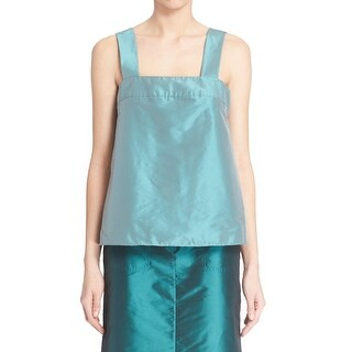 Tibi NEW Green Womens Size 0 Taffeta Square Neck Chrome Tank Blouse