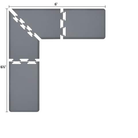 WellnessMats Puzzle Piece Collection 6.5 X 6 X 2 Feet, 4 Piece L Series Anti-Fatigue Office & Kitchen Mat Set, Grey